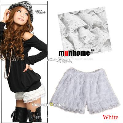 New Women Girl White Sexy Eight-layer Lace Pleated Mini Cake Skirt Pants Qun6w-White
